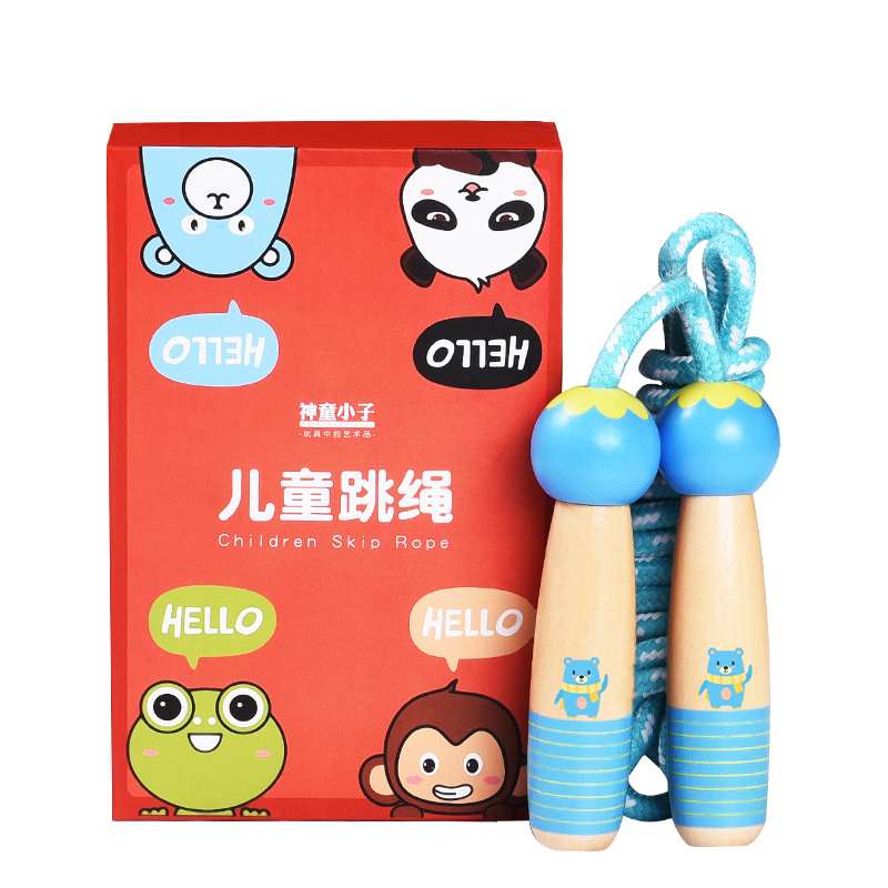 Jump Rope Exam Young STUDENT'S Only Children Sports Men's Unisex Kindergarten Beginner Wood-Wooden Toys