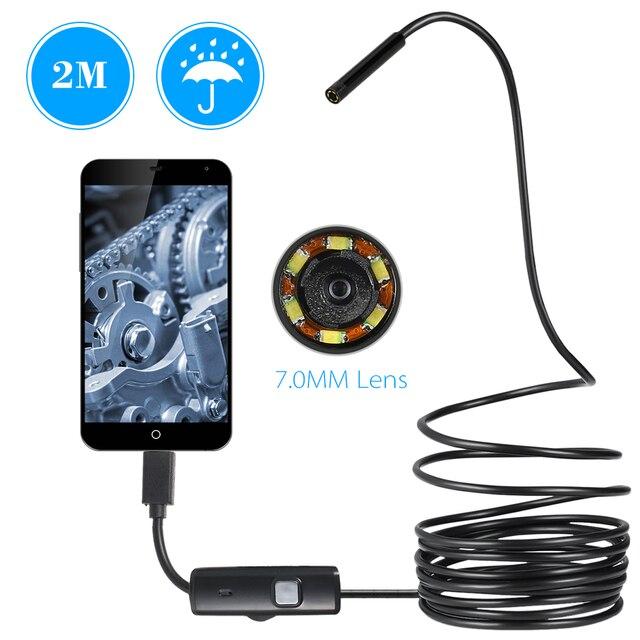 OWSOO endoskop kamera 7MM 6 LED Lens 2m su geçirmez muayene Borescope Mini kamera tel yılan tüp usb kameralı boru muayene cihazı
