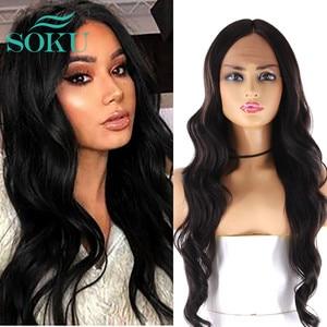 Image 1 - SOKU Ombre Blone סינטטי תחרה מול פאות ארוך גלי התיכון חלק תחרה שיער פאות חום עמידה עבור שחור נשים