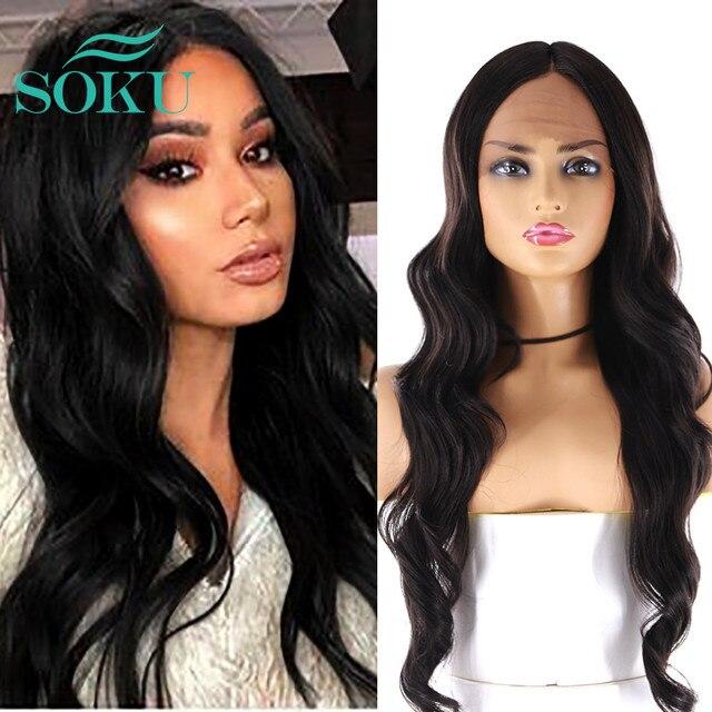 SOKU Ombre Blone סינטטי תחרה מול פאות ארוך גלי התיכון חלק תחרה שיער פאות חום עמידה עבור שחור נשים