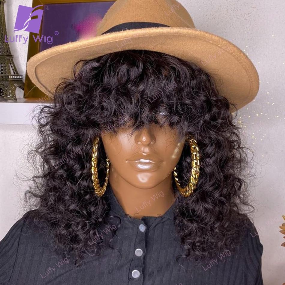 Encaracolado peruca de cabelo humano com bang brasileiro remy cabelo máquina o couro cabeludo peruca superior 200% densidade cabelo natural para preto mulheres luffywig