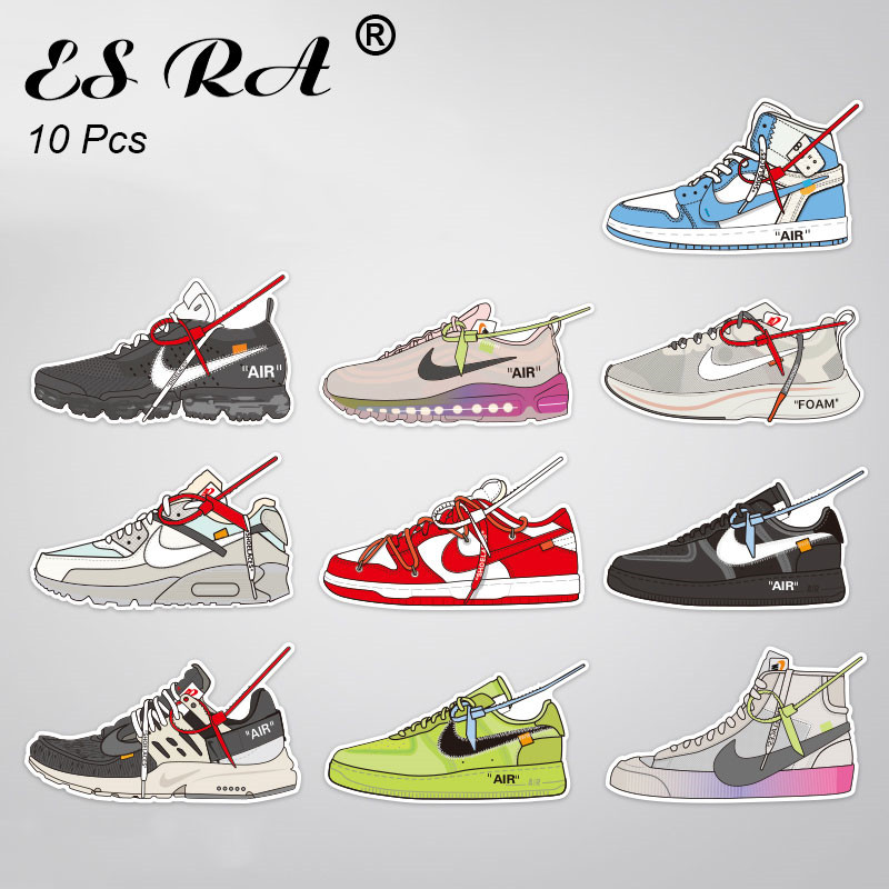 10 Pcs/Set Decal Cool Sneaker Stickers Waterproof PVC Shoes Pegatinas Decorate For Suitcase Bottle Lugguage Laptop Skateboard