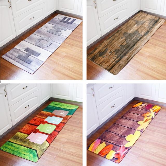 60x180CM Kitchen Rug Antiskid Mat for Kitchen Floor Long Door Mat Vintage Style Kitchen Rug Non Slip Bedroom Bedside Mats