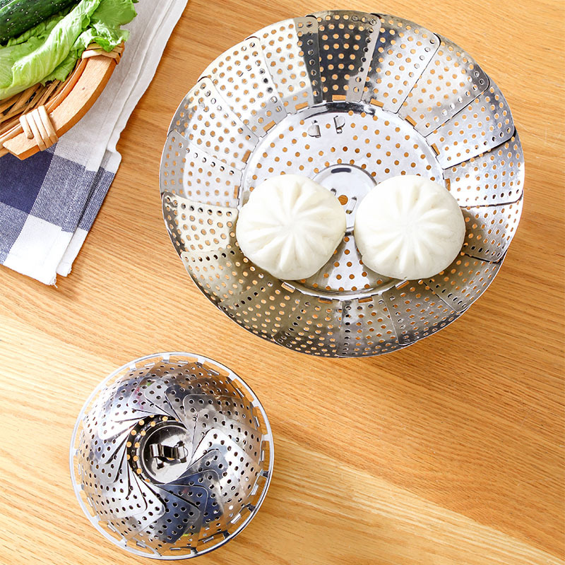 Stainless Steel Foldable Extendable Household Steaming Plate Steamer Lotus Cage Drawer Household Steamed Dishes Steamed Buns Rac