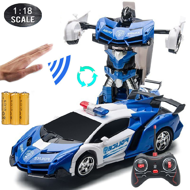 1:18 RC Cars 24CM Gesture Sensing Transformation Police Car Robot Deformation Remote Control Sports Vehicle Toy for Kids Boy C02