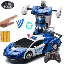1:18 Rc Auto 'S 24Cm Gebaar Sensing Transformatie Politie Auto Robot Vervorming Afstandsbediening Sport Voertuig Speelgoed Voor Kinderen Jongen c02