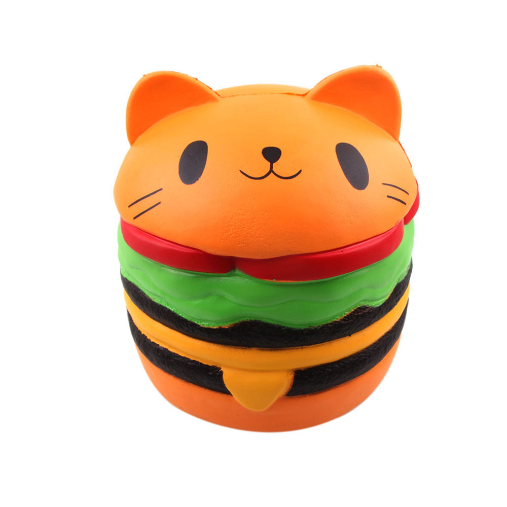 Cute Big Cat Hamburger Stress Reliever Slow Rising Squeeze Toy Simulation Decor Decoration Decompression Slow Rebound Toy #D