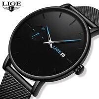 LIGE zegarek kwarcowy kobiety i mężczyźni oglądaj Top marka luksusowa słynna sukienka moda zegarek mężczyźni Unisex Ultra cienki zegarek na rękę Para Hombre