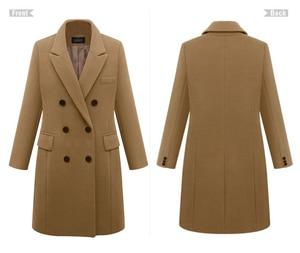Image 5 - 2020 Autumn Winter Coat Women Straight Long Coat Wool Blend Jacket Elegant Burgundy Black Jacket Office Lady Coat MK 343