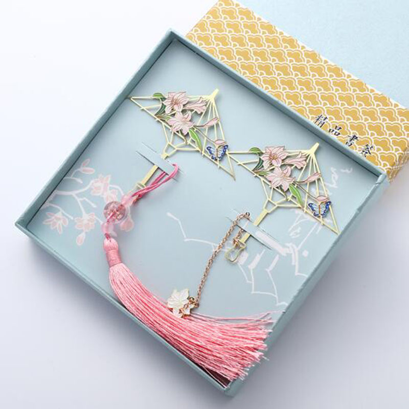 Classical Chinese Umbrella-shaped Bookmark Metal Lily Bookmarks Creative Ancient Fan Face Bookmark Gift
