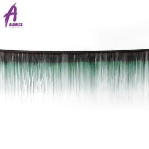 Image 2 - Alimice Ombre Bó Với Khóa 3 Ốp Lưng Với Khóa 4 T1B/Xanh Màu Đậm Gốc Brasil Thẳng Con Người tóc Bó