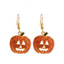 Kryształ uśmiechnięta twarz dynie spadek kolczyki Jack O latarnia Halloween biżuteria