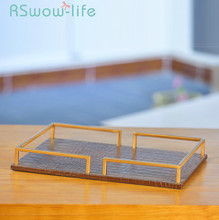 40*30*6cm Simple Home Desktop Ornaments Leather Metal Tray Cosmetics Jewelry Storage Trays Service For