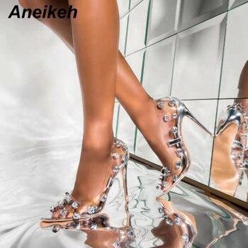Aneikeh Sexy PVC Women Heeled Sandals Rivet Super High Heels 11CM Peep Toe Dress Lady Thin High Heel Pumps Sandals Shoes 41 42 цена 2017