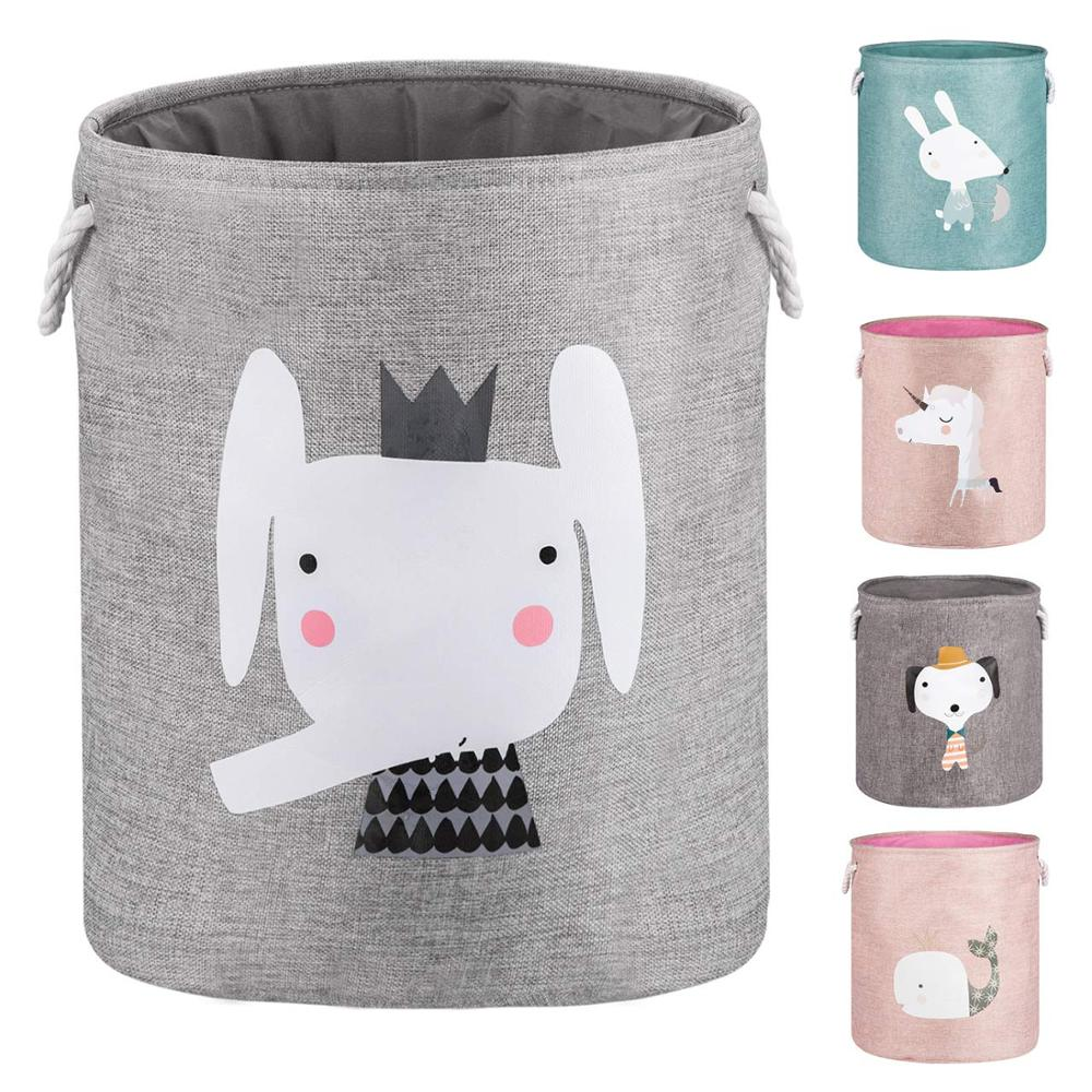 Large Dustproof Folding Laundry Basket Clothes Storage Baskets Bin For Kid Toy Organizers Dog Blanket Cute Animal Laundry Hamper