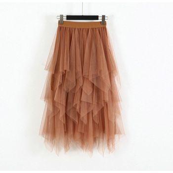 Women Irregular Hem Mesh Tutu Skirt Fashion Elastic High Waist Long Tulle Skirt   Fashion Spring Party Skirt for Ladies 6