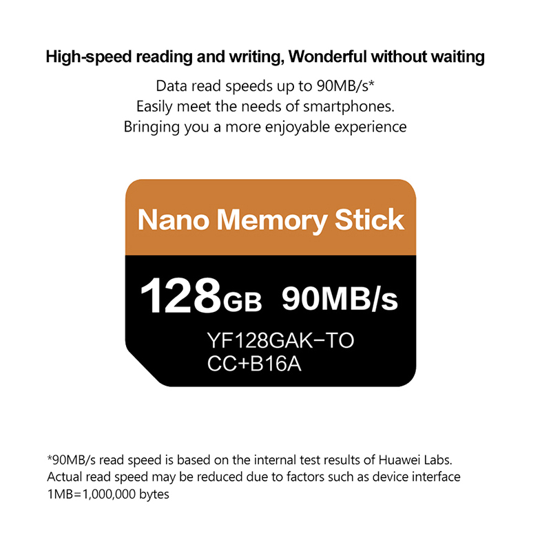 Carte NM lecture 90 mo/s 128 go carte mémoire Nano appliquer pour Mate20 Pro Mate20 X P30 Nova5 Pro avec USB3.1 Type C - 3