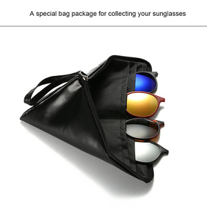 Image 4 - Classic Mens Polarized Sunglasses Women 5 In 1 Clip On Mirrored Sun Glasses TR90 Optical Prescription Myopia Eyeglass Frame