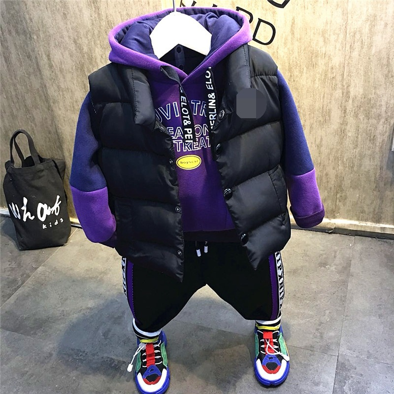 3pcs Boys Christmas Outfit Kids Thanksgiving Clothing Set Baby Causal Jacket Patchwork Hoodie And Velvet Pant Set Children 2-7T