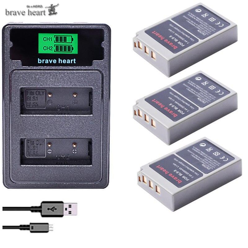 2000mAh PS-BLS5 BLS-5 BLS5 BLS-50 BLS50 Battery for Olympus PEN E-PL2 E-PL5 E-PL6 E-PL7 E-PM2  OM-D E-M10  E-M10 II  Stylus1