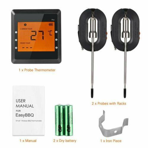 Купить с кэшбэком Digital Meat Thermometer, APP Controlled Wireless Bluetooth Smart BBQ Thermometer w/ 2 Stainless Steel Probes, Large LCD Display