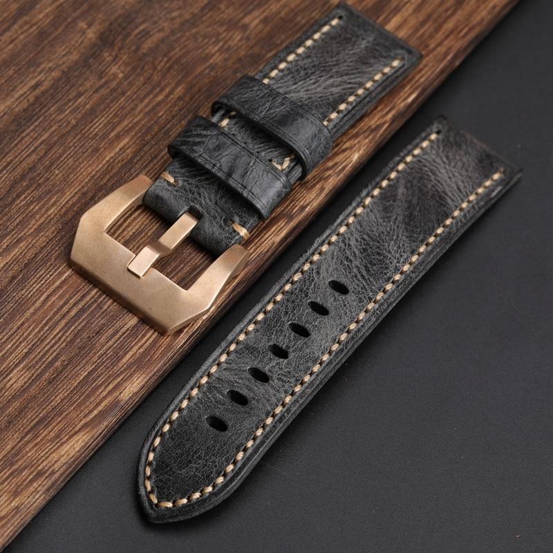 Hand-Gefaltet Rauchgrau Leder Armband Kompatibel Mit PAM Bronze Uhr Strap 20 22 24 26MM Weiche Vintage armband