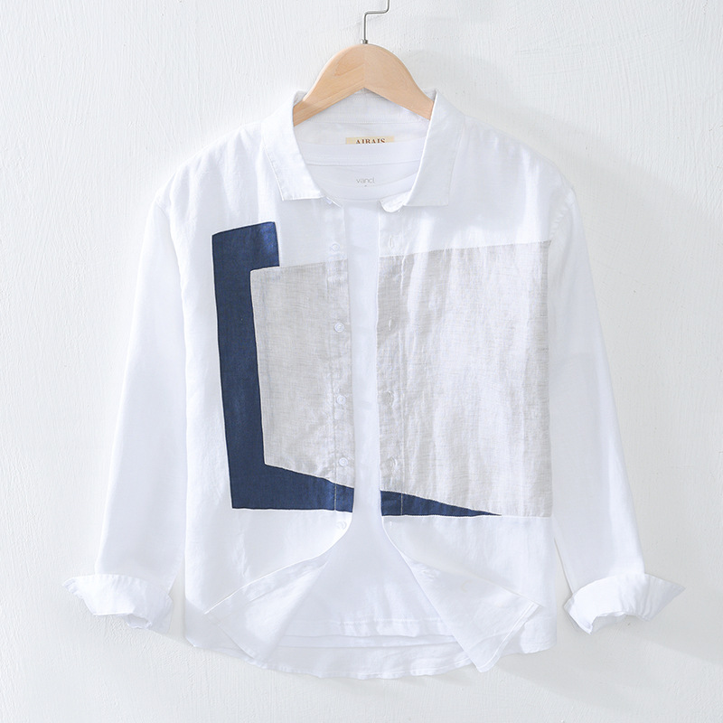 Men Summer Fall Japan Style Turn Down Collar Long Sleeve Geometry Patchwork High Quality Pure Linen Stylish Male Casual Shirts