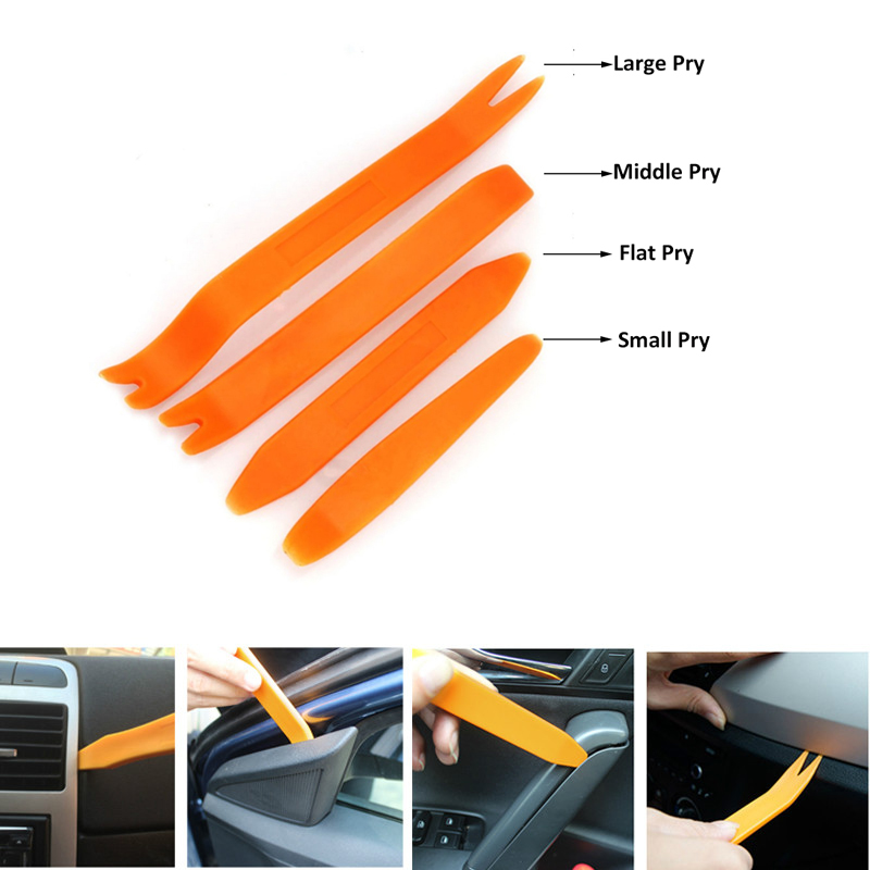 Audio Dashboard Disassembly 4pcs/Set Interior Tool Kit Pry Door Clip Radio Panel Car Removal Tool Plastic Trim Repair Tool