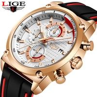 Reloj Hombre LIGE męskie zegarki Top marka luksusowy wojskowy zegarek sportowy mężczyźni gumowy wodoodporny zegarek kwarcowy Relogio Masculino
