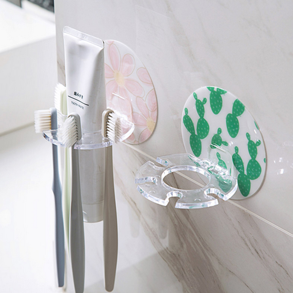 Toothpaste Holders Floral Clear Electric Cartoon Toothbrush Suction Cups Holder Stand 5 Racks Home Bathroom Wall Mount Dropship image