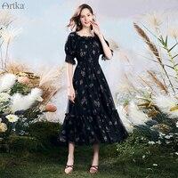 ARTKA 2020 Summer New Women Vintage Square Collar Black Chiffon Dress Elastic Waist Flower Print Mesh Lace Long Dresses LA20301X