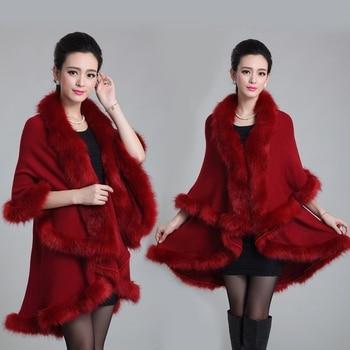 Womens Fur Coat Cloak Shawl Winter Warm Large Size Double Layer Cardigan Imitation Fox Women Outwear Poncho