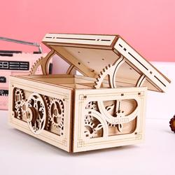 Wooden  Music Jewelry Box Mechanical Transmission Model 3d Assembling Diy Wooden Secret Treasure gift Box Mechanism Box