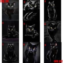 cute pet animal puzzle black cat diamond painting kit full square round diamond embroidery mosaic art Cross Stitch diy handwork