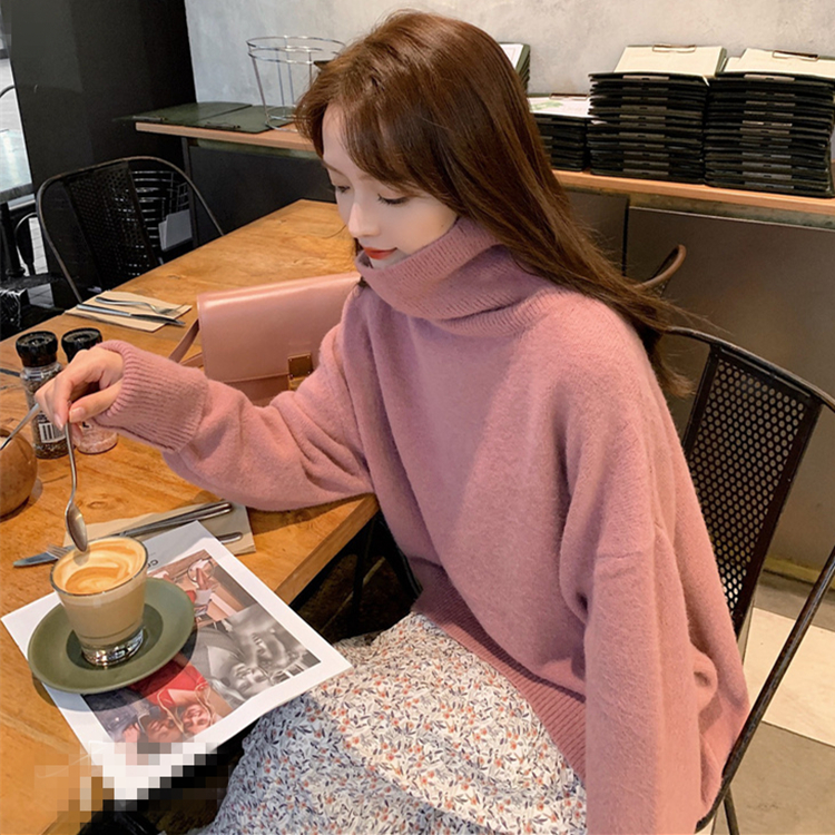 New Casual Autumn Winter Turtleneck Sweater Pullover Women Warm Chic Female Loose Knitted Basic Sweaters Pull