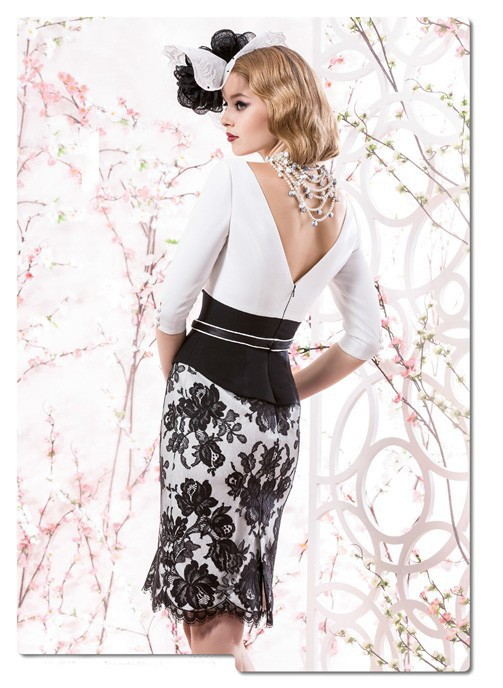 Gorgeous vestido para mae da noiva 3/4 Sleeve Mother of the Bride Dresses Lace Evening Gowns for Plus Size Knee Length 2015 MM13