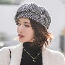 Простой женский шерстяной берет для элегантной леди зимние женские хлопковые шапки клетчатые винтажные Восьмиугольные повседневные boina Осенняя шапка для девочек