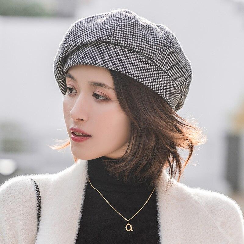 Simple Women Wool Beret For Elegant Lady Winter Female Cotton Hats Plaid Vintage Octagonal Casual Boina Autumn Girl Cap