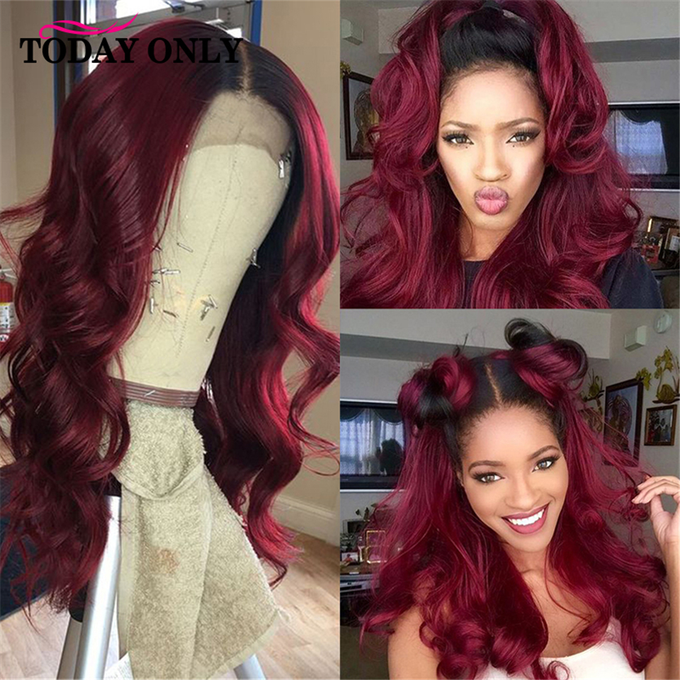 TODAYONLY Peruvian Body Wave Wig 13x4 Human Hair Wigs For Black Women Burgundy Blonde Lace Front Wig Ombre Human Hair Wig Remy