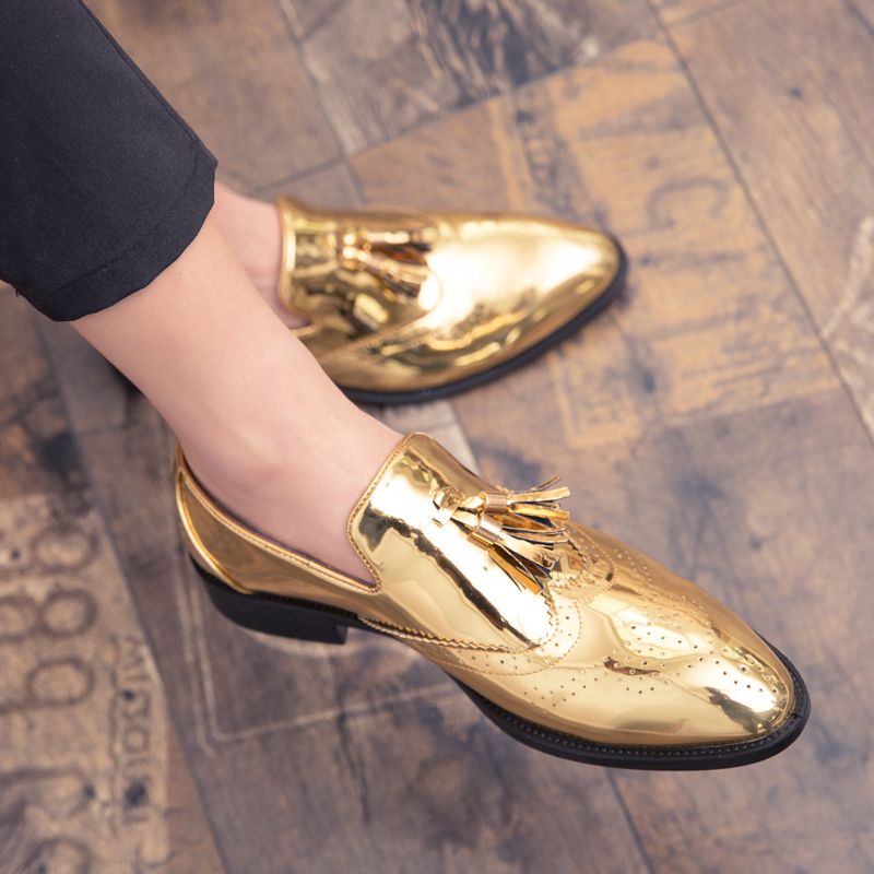 2020 New Gold Color Man Dress Shoes Tassel Pointed Men Shoes Loafers Luxury Designer Business Leather Shoes Plus Size 38-47