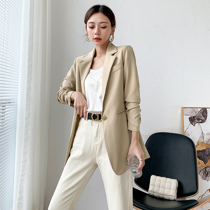 High quality plus size women's clothing L-5XL fashion ladies Blazer Autumn and winter pleated sleeve female jacket Casual coat