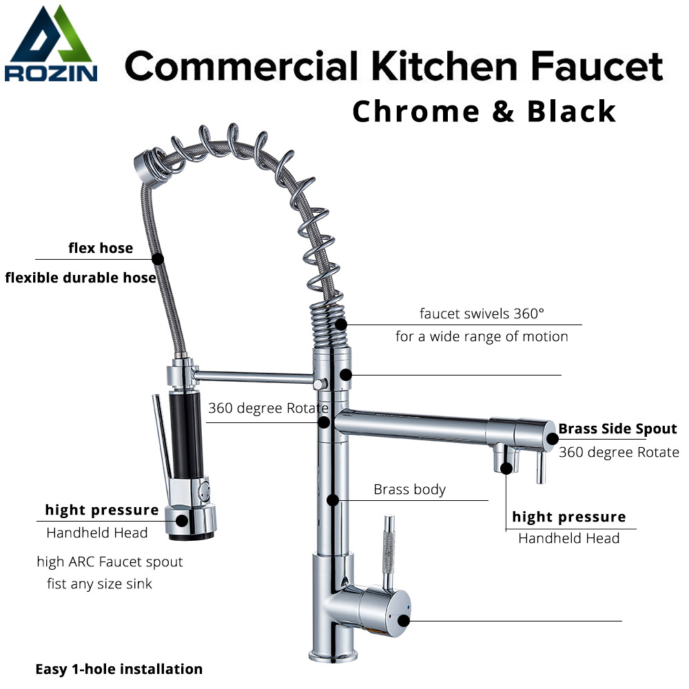 Hb15655c9654d447c922903d718fdbbfan Rozin Black and Rose Golden Spring Pull Down Kitchen Sink Faucet Hot & Cold Water Mixer Crane Tap with Dual Spout Deck Mounted