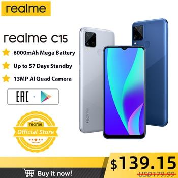 Перейти на Алиэкспресс и купить Realme C15 смартфон 4 ГБ ОЗУ 64 Гб ПЗУ 6000 мАч большой аккумулятор для мобильных устройств телефон 6,5 дюймов Android телефон с 3 слотами для карт Helio G35 те...
