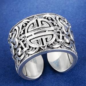 Image 3 - V.YA Echten Silber 925 Ethnische Stil Ring Für Männer Große Breite Ringe 3D Klar Gravierten Offenen Ring Vintage Männlichen Schmuck