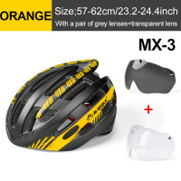 Orange 2 Lenses-INBIKE Cycling Helmet with Goggles Ultralight MTB Bike Helmet Men Women Mountain Road casco Sport Specialiced Bicycle Helmets
