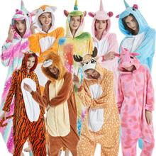 Dorosłych piżamy kobiety flanelowe piżamy Unisex Kigurumi śliczne jednorożec Cartoon Kigurumi zestaw piżamy dzieci z kapturem piżamy 4-20T tanie tanio TINOLULING Poliester Pełna REGULAR 85-95-105-115-125-S-M-L-XL Pasuje mniejszy niż zwykle proszę sprawdzić ten sklep jest dobór informacji