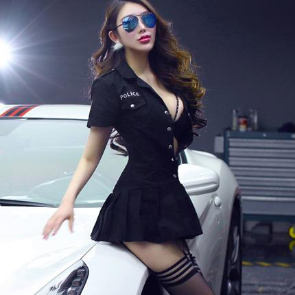 Sexy Police Uniform Set Game Lingerie Erotic Female Costume Black