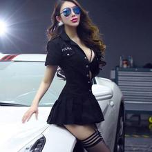Sexy Police Uniform set Game Lingerie Erotic Female Costume Black