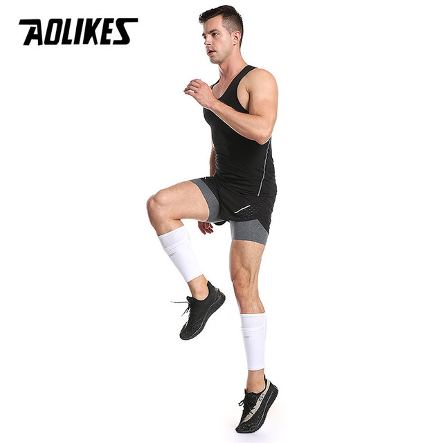 AOLIKES 1 Pair Soccer Protective Socks Shin Guard With Pocket For Football Shin Pads Leg Sleeves Support Adult Calf Support Sock