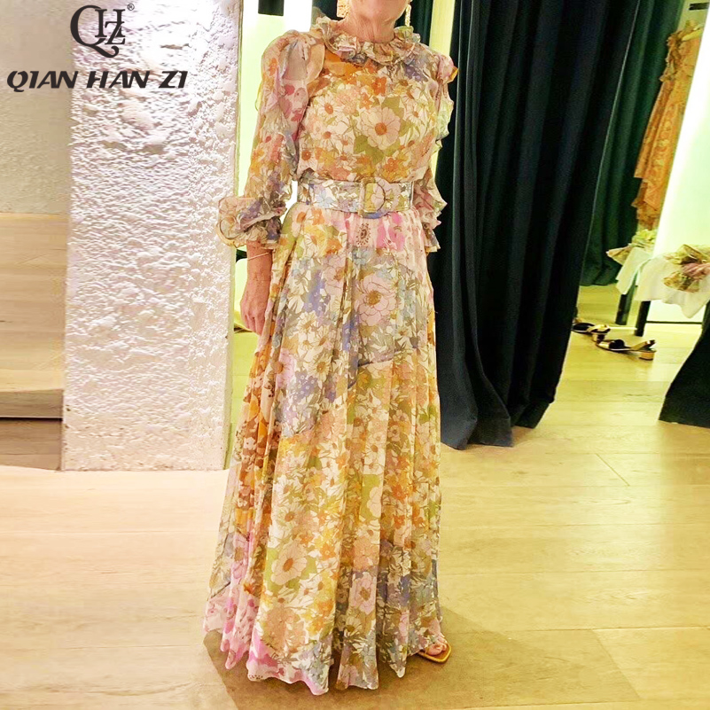 Qian Han Zi Runway Fashion Summer Set Women's Ruffled Long Sleeve Chiffon Top+Flower Printed Beach Long Skirt 2-Piece Set